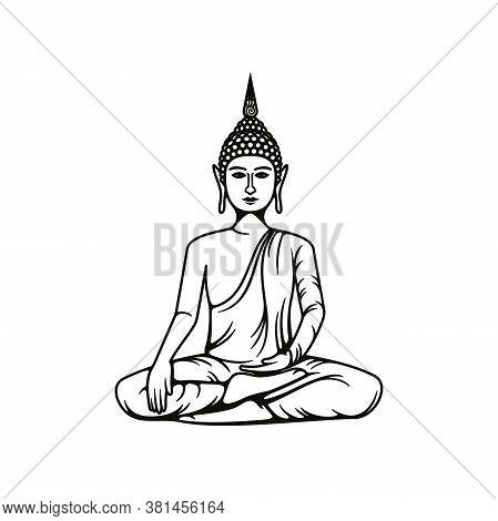 Buddha Meditation Isolated Vector Icon, Buddhism Religious Symbol, Buddhist Hinduism Dharma Religion