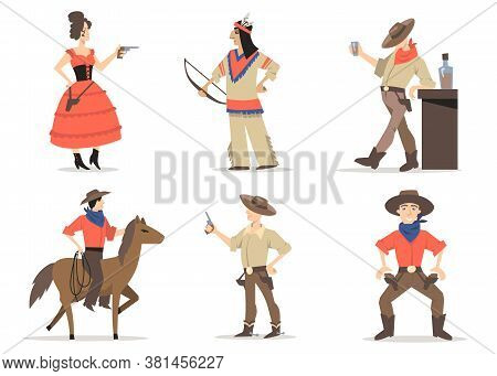 Cowboy Stories Characters Set. Traditional Wild West Residents, Red Indians, Rodeo Guy With Lasso Ri