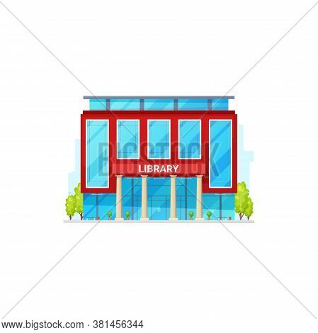 Library Building Exterior Isolated Facade. Vector Public, University Or College Library, Green Trees