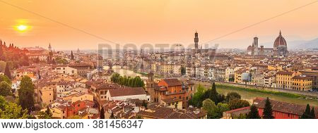 Florence City During Sunset. Panoramic View To The River Arno, With Ponte Vecchio, Palazzo Vecchio A