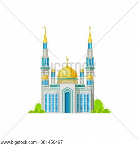 Muslim Temple With Domes And Crescent Moons On Top Isolated Islam Religion Building. Vector Minaret