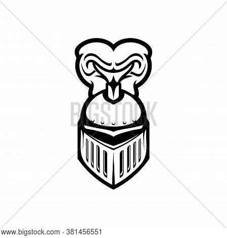Roman Warrior Helmet With Plumes Isolated Monochrome Icon. Vector Metal Helmet With Vizor And Plumag