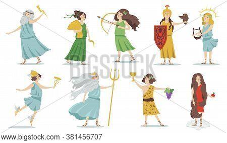 Olympian Gods And Goddesses. Poseidon, Venus, Hermes, Athena, Cupid, Zeus, Apollo, Dionysus. For Gre