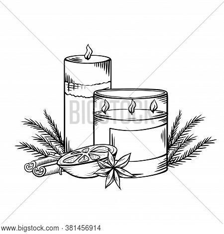 Relax Candles. Black And White Sketch With Shading. Wax Candles With Juniper Twigs, Cinnamon And Ora