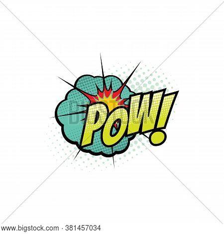 Comic Book Sound Blast, Pow Bubble Cartoon Halftone Icon. Vector Pow Sound Blast Explosion Pop And B