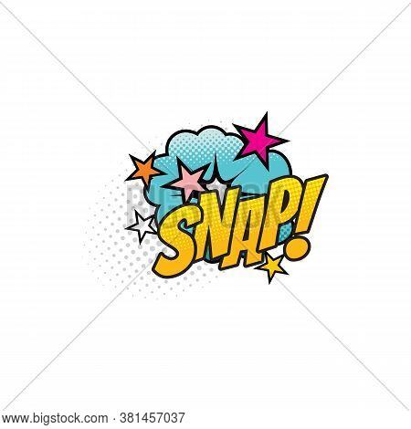 Comic Sound Blast, Snap Bubble Cloud Cartoon Icon. Vector Snap Sound Blast, Explosion Boom Cloud Wit