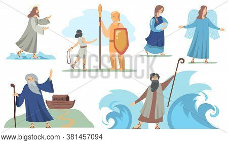 Holy Bible Christian Characters Set. Noah And Virgin Mary, Judah And Moses, Angel And Jesus. Vector