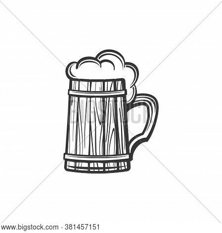 Wooden Mug Of Beer Isolated Alcohol Drink Monochrome Sketch. Vector Oktoberfest Holiday Symbol, Cide