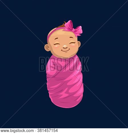 Newborn Girl In Pink Wrap Isolated Baby Shower Symbol. Vector Sleeping Child With Bow On Head, Infan