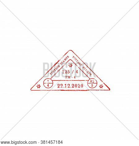Vintage Triangular Stamp With Data And Time Of Delivery. Vector Grunge Triangle, Post Or Airmail Sta