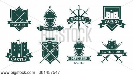 Ancient Knight Or Fighter Monochrome Flat Sign Set. Medieval Emblem And Shield With Warrior Armor, H