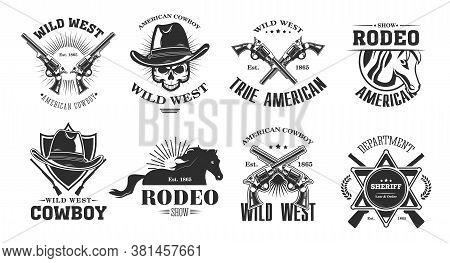 Wild West Emblems Set. Monochrome Elements With Skull In Cowboy Hat, Rodeo Horse, Crossed Gun, Sheri