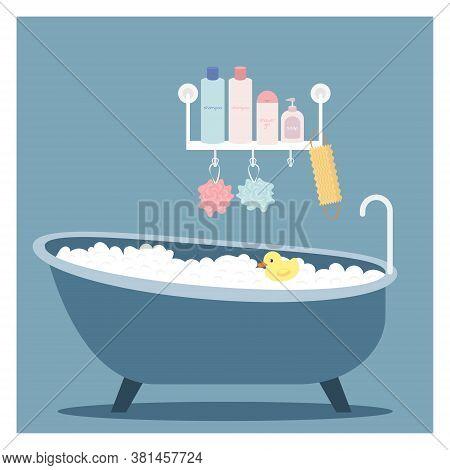 Foam Bath. Bath Duck. Shelf With Bath Utensils. Flat Cartoon Vector Illustration Isolated On Blue Ba