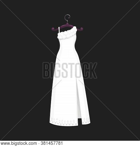 Wedding Dress Vector Isolated Icon. Vector Save The Date Greeting, Engagement And Marriage Party Inv