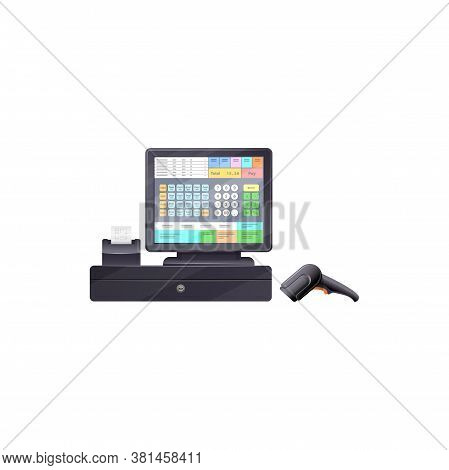 Touchscreen Cash Register With Bar Code Reader, Printing Checks Terminal Isolated Modern Cash Desk.