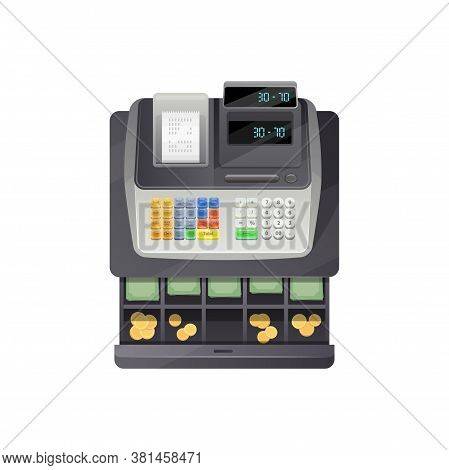 Open Drawers Of Cash Register Full Of Money Banknotes And Coins Isolated Counting Device. Vector Pay