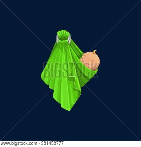 Newborn Baby Boy Or Girl In Green Wrap Isolated Baby-shower Symbol. Vector Sleeping Child With Blond