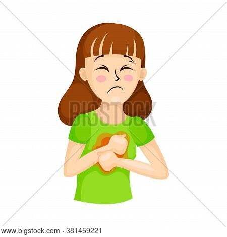 Young Woman Suffering From Coronavirus Symptom Like Chest Pain And Respiratory Difficulty Vector Ill