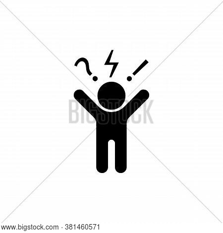 Man, Angry, Aggressive Icon. Negative Thinking Sign. Bad Mood Client, Customer Negative Behavior. Ve