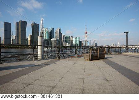 Empty Marble Road Surface Floor With Shanghai Skyline