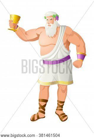 Greek God And Goddess Vector Illustration Series, Dionysus, The God Of The Grape Harvest, Winemaking