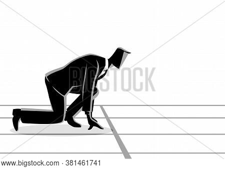Business Concept Vector Illustration Of A Businessman Ready To Sprint On Starting Line. Starting Car
