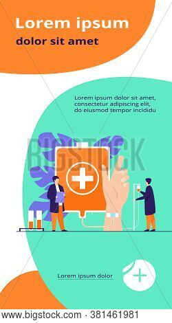 Blood Donation Station. Hand Of Transfusion Donor With Doctors And Nurses Team Around. Vector Illust