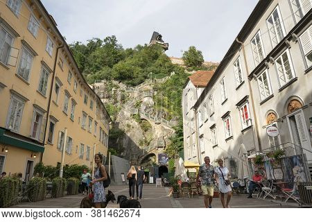 Graz, Austria.  August 2020.  View Of The Schlossberg Square With The Stairway To The Clock Tower In