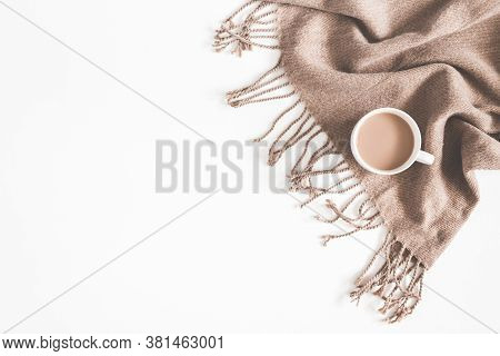 Flatlay With White Background Coffee Mug And Cloth Placed
