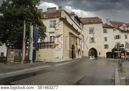 Graz, Austria. August 2020. The Entrange Gate At The Grazer Burg