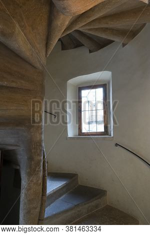 Graz, Austria. August 2020.  Detail Of The Double Helical Spiral Staircase Built In 1499 Located In