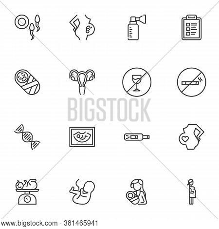 Pregnancy And Maternity Line Icons Set, Outline Vector Symbol Collection, Linear Style Pictogram Pac