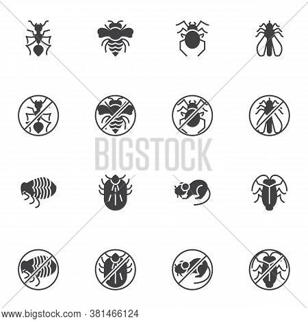 Pest Insects Vector Icons Set, Modern Solid Symbol Collection, Filled Style Pictogram Pack. Signs, L