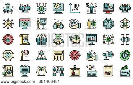 Account Manager Icons Set. Outline Set Of Account Manager Vector Icons Thin Line Color Flat On White