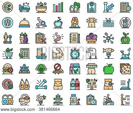 Nutritionist Icons Set. Outline Set Of Nutritionist Vector Icons Thin Line Color Flat On White