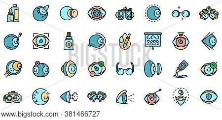 Optician Icons Set. Outline Set Of Optician Vector Icons Thin Line Color Flat On White