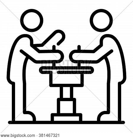 Two Arm Wrestle Icon. Outline Two Arm Wrestle Vector Icon For Web Design Isolated On White Backgroun