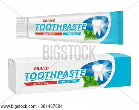 Toothpaste Package. Teeth Dental Protection Box Label Vector Design Template. Illustration Toothpast