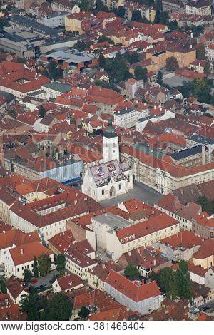 ZAGREB, CROATIA - OCTOBER 29, 2012: Zagreb Panorama with Saint Mark Church in Zagreb, Croatia