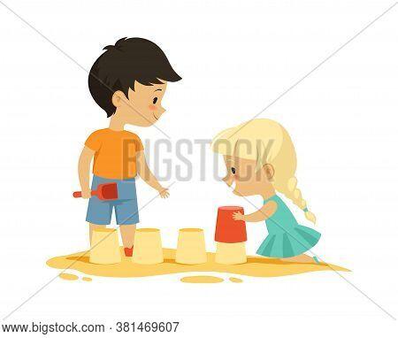 Boy Girl In Sandbox. Outdoor Activity, Isolated Cartoon Kids Playing. Happy Childhood, Kindergarten