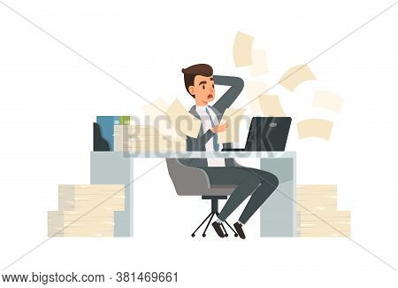 Man Received Letter. Torn Deadlines, Businessman Reading Documents And Surprised. Guy Works At Compu