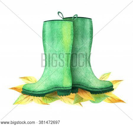 Watercolor Image Of Waterproof Rubber Boots Among Colorful Fall Leaves On White Background. Hand Dra