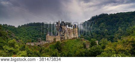 Wierschem, Rhineland-palatinate / Germany - 1 August 2020: Panorama View Of The Beautiful Eltz Castl