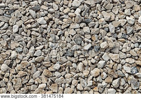 Crushed Limestone Rocks. Road Gravel. Natural Stone Texture, Close-up
