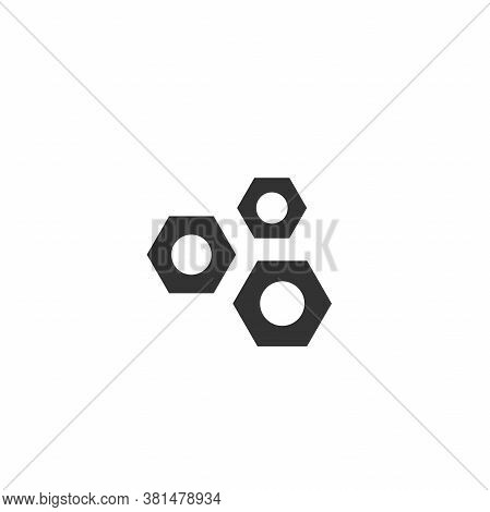 Black Screw Nut Icon Isolated On White. House Repair Tool. Maintain, Settings, Support, Fix Button.