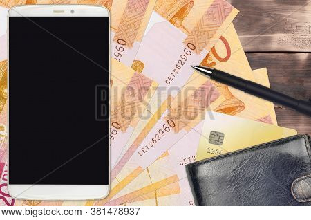 20 Belorussian Rubles Bills And Smartphone With Purse And Credit Card. E-payments Or E-commerce Conc