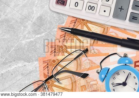5 Belorussian Rubles Bills And Calculator With Glasses And Pen. Business Loan Or Tax Payment Season
