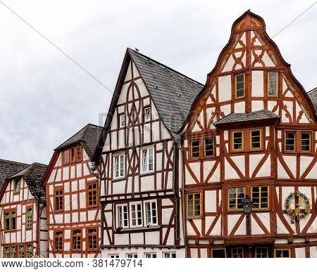 Limburg, Hessen / Germany - 1 August 2020: Gorgeous Half-timbered House Skyline In Historic Limburg