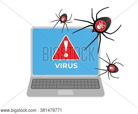 Computer Virus Attacking Laptop. Internet Security, Data Protection, Network Data.