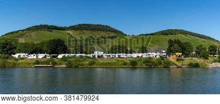 Enkirch, Rheinland-pfalz / Germany - 31 July 2020: View Of The Idyllic Rv And Caravan Park In Enkirc